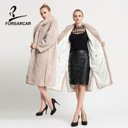 FURSARCAR 2017 100% Mink Fur Coat Women Winter Real Skin Fur Coats With Fur Collar Genuine Leather Mink Fur Overcoat For Female