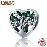 BAMOER Hot Sale Authentic 925 Sterling Silver Tree of Life Heart Shape Clear CZ Beads fit Women Bracelets Jewelry Gift SCC221