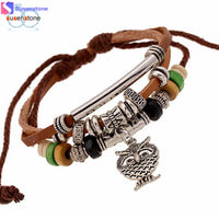SUSENSTONE Multilayer Owl Bracelet Beads Hand-woven Euramerican Popularity Owl Accessories