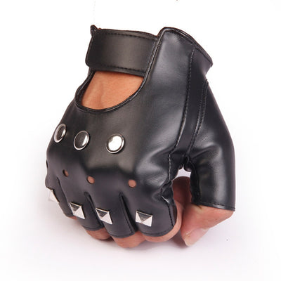 Half Finger Men and  Women Gloves Unisex PU Leather Fingerless Gloves For fashion Ladies Women Black Glove