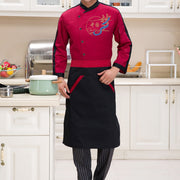 Kitchen Apron Half Apron with Two Pockets Chef Waiter Apron for Men Women Black Red