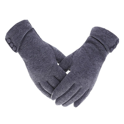 Women Winter Warm Gloves Touch Screen Phone Windproof Button Thick Gloves  Velvet Cashmere Full Finger Warm Touchscreen Gloves