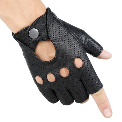 Men and Women Deerskin Gloves Wrist Half Finger Glove Solid Unisex Adult Fingerless Mittens Real Genuine Goat Lambskin Leather