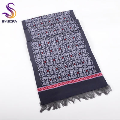 [BYSIFA] Men Long Scarves Winter New Double Face Warm Cotton Neck Scarves Europe America Fashion Leisure Grey Blue Thick Scarves