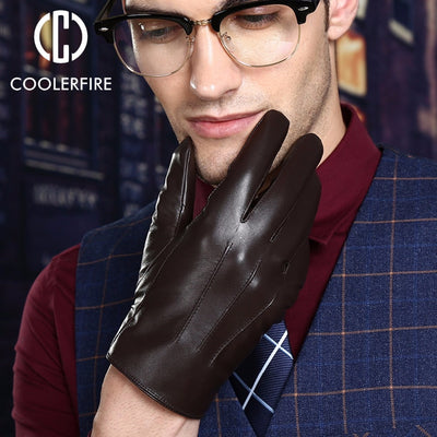warm winter mens gloves ,Genuine Leather,Black leather gloves,male leather gloves,winter gloves men, Free shipping ST008
