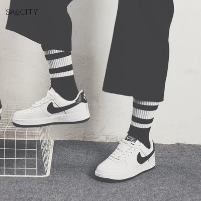 Hipster Man Crew Skateboard Socks Mens INS Style Classic Striped Fashion Cotton Short Socks Autumn Harajuku Art Socks Male Sox