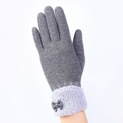 Elegant Womens Gloves Screen Winter Warm Bow Soft Wrist Gloves Mittens Cashmere Full Finger