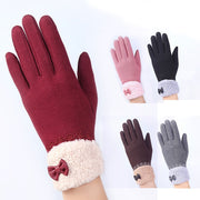 Fashion Winter Women Gloves Screen Sensor Fittness with Leather Bow Lace Elegant Warm Mittens Fashion Female