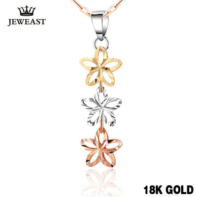 18k Gold Pendant Genuine Fine Jewelry Charm Women Three Star Lady Upscale Hot Selling Cute Classic 2017 New Good Stars Trendy