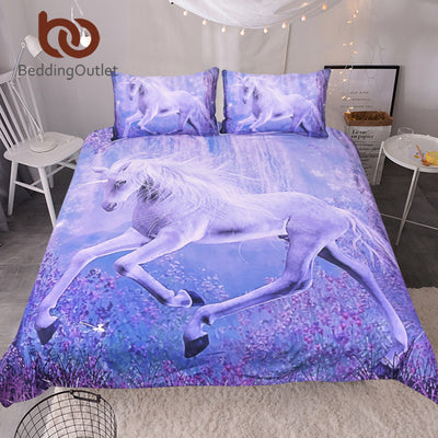 BeddingOutlet Purple Unicorn Bedding Set 3D Printed Quilt Cover With Pillowcases Floral Scenic Bed Set 3-Piece Home Textiles