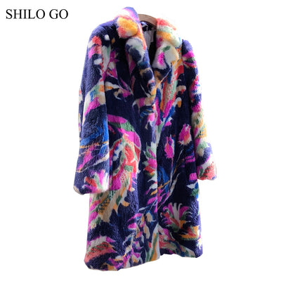 SHILO GO Fur Coat Womens Autumn Fashion whole real Mink Fur long coat laple collar color Bohemian print warm Mink Fur coat