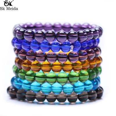 Colorful Glass Beads Transparent Beads Bracelet For Women & Man Fashion Simple Classic Bracelet Unisex E-78
