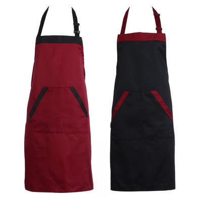 Unisex Halterneck Cooking Baking Aprons Catering Home House Kitchen Apron Aprons with 2 Pockets Kitchen Accessories
