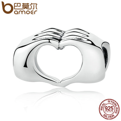 BAMOER New Collection Genuine 925 Sterling Silver Closed Love Hand Heart Beads fit Bracelets DIY Jewelry Accessories SCC125