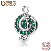BAMOER Authentic 100% 925 Sterling Silver I Love Music Note Green Clear CZ Beads Fit Charm Bracelet Beads Jewelry Gift SCC450