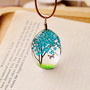 2017 Hand Made Creative Jewelry Natural Dry Flowers Butterfly Life Tree 70 cm Long Pendants Necklaces For Women Girls Children