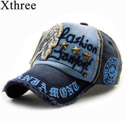 Xthree brand cotton fashion embroidery antique style Baseball Cap casquette snapback hat for men women