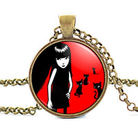 2017 new hot Hand Made Emily the Strange Colar Longo Gothic Necklace Emo Cheap Fashion Jewelry Vintage Bronze HZ1