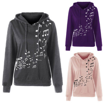 Womens Long Sleeve Hoodie Musical Note Print Sweatshirt  Jumper Pullover Blouse