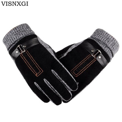 2018 New Design Men Winter Gloves Luxury Leather Moto Guantes PU Patchwork Thick Gloves Male Motocicleta Thermal Warm Gloves