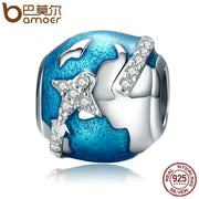 BAMOER Genuine 100% 925 Sterling Silver World Traveling & Dazzling CZ Blue Enamel Beads Fit Bracelets Jewelry Gift S925 SCC183