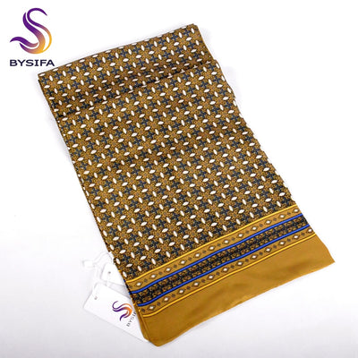[BYSIFA] Winter Gold Yellow Men Scarves Cravat Fashion Men Business Scarves Neck Scarf Spring Autumn Winter New Plaid Silk Scarf