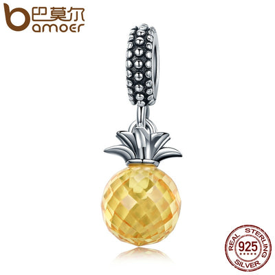 BAMOER 925 Sterling Silver Summer Yellow Crystal Pineapple CZ, Pendant Beads fit Charm Bracelet DIY Jewelry Gift SCC150