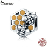 BAMOER New Collection 925 Sterling Silver Honeycomb Honey Bee Square Charm Beads fit Women Bracelet DIY Jewelry Making SCC500
