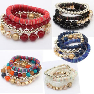 Women 4 Pcs Colorful Beads Multilayer Bangle Handmade Bracelets Florid Cool