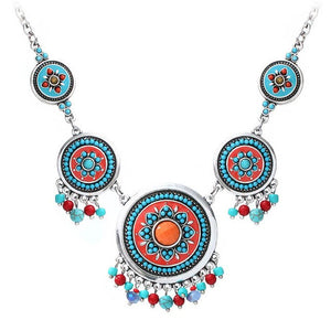 Charming Fashion Hand Made Ethnic Enamel Colorful Choker Necklace Multicolor Beads Boho Statement Necklaces Women Accessories