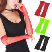 Women Lady Dance Costume Party Lace Fingerless Fishnet Gloves Mittens