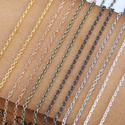 10m/lot Width 2mm Metal Iron Rolo Link Chains Bulk Gold Silver Color Necklace Chain Bracelet Findings For Jewelry Making