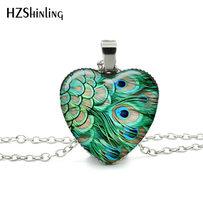 New Heart Peacock Necklace Peacock Feather Heart Pendant Silver Heart Necklace Personalized Picture Necklace HZ3