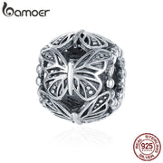 BAMOER Hot Sale 100% 925 Sterling Silver Stackable Butterfly Round Charm Beads fit Women Charm Bracelet DIY Jewelry Gift SCC491