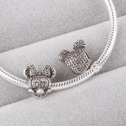 Couqcy 2018 Silver Charm Full Crystal Mickey Minnie Zinc Alloy Bead Fit DIY Pandora Bracelet&Necklaces Jewelry Accessory