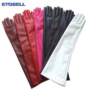 Women 7 Colors Opera Evening Party Gloves Faux Leather PU Over Elbow Long Glove