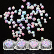 1 Bottle Nail Rhinestones Mix Pearl Mermaid Design Set 3D Nail Art Decoration Gradient Colorful Beads Charming Manicure SA381