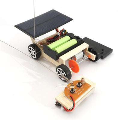 DIY Solar Remote Control Vehicle Wooden Assembly RC Car Science Model Educational Toy Model IQ Intelligence Birthday Gift
