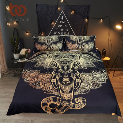 BeddingOutlet Tribal Elephant Bedding Set Boho Mandala Golden Design Ethnic Indian God Ganesha Duvet Cover Indian Symbol Bed Set