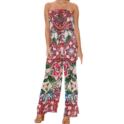 Women Off Shoulder Printing Jumpsuit Clubwear Bodycon Playsuit Romper