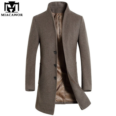 2018 New Winter Men Wool Trench Coat Men Long Trench Slim Fit Overcoat High Quality Men Coats Fashion Trench Outerwear MJ340