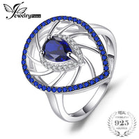 JewelryPalace 1.3ct Pear Shape Created Sapphire & Blue Spinel Exaggerated Party Rings For Women 925 Sterling Silver Fine Jewelry