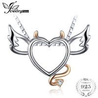 JewelryPalace Lovely Wing Angel Heart Pendant Fashion Gift 925 Sterling Silver Jewelry Cute Present For Girl Not Include A Chain