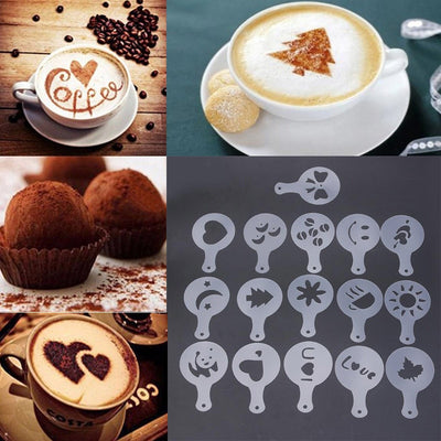 16Pcs/set Coffee Latte Mold Dusting Pad Latte Cappuccino Coffee Stencils DIY Cake Cookie Model Kitchen Art Baking Tools