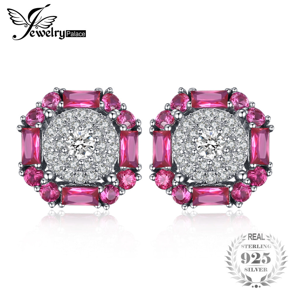 JewelryPalace 2.5ct Created Red Ruby Stud Earrings 100% Real 925 Sterling Silver Party Vintage Fine Jewelry For Women Best Gift