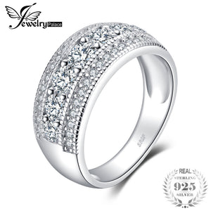 JewelryPalace Fashion 1.3ct Round Cocktail Band Ring Genuine 925 Sterling Silver Jewelry For Women Fashion Ring