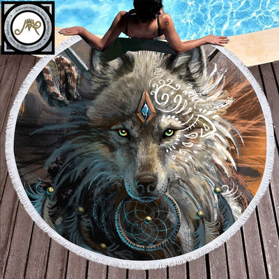Wolf Warrior by SunimaArt Round Beach Towel Adults Wolf Printed Microfiber With Tassel Towel Indian Blanket Large Native Toalla
