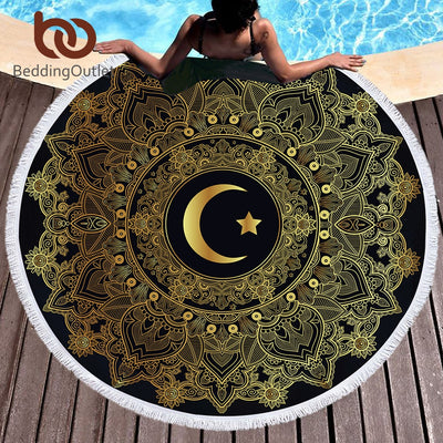 BeddingOutlet Mandala Round Beach Towel Large for Woman Moon Star Bohemian Microfiber Tassel Tapestry Toalla Blanket Yoga Mat