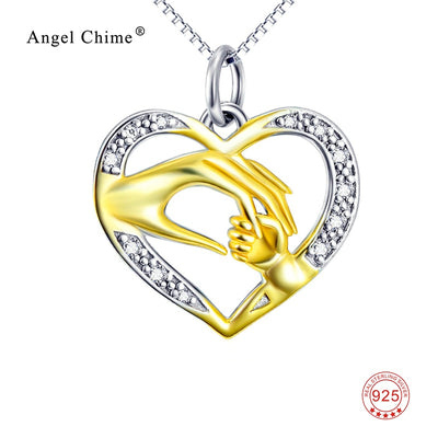 Mom And Child Hand In Hand Gold Pendant Pure 925 Sterling Silver Crystal Love Heart Charm Statement Necklaces Mother's Day Gift