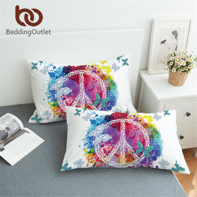 BeddingOutlet Watercolor Butterfly Pillowcase Colorful Printed Pillow Case Peace Design Bedding Pillow Cover 50x75cm 50x90cm